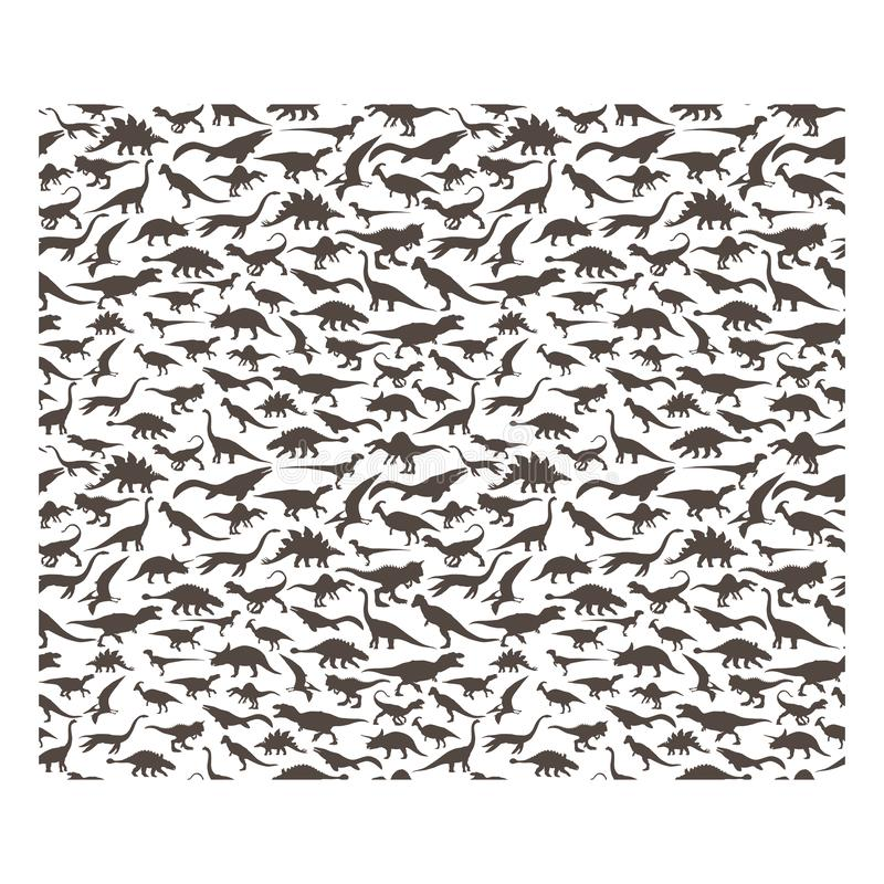 Vector pattern. Set of herbivores and carnivorous dinosaurs. On white background. EPS10 vector illustration