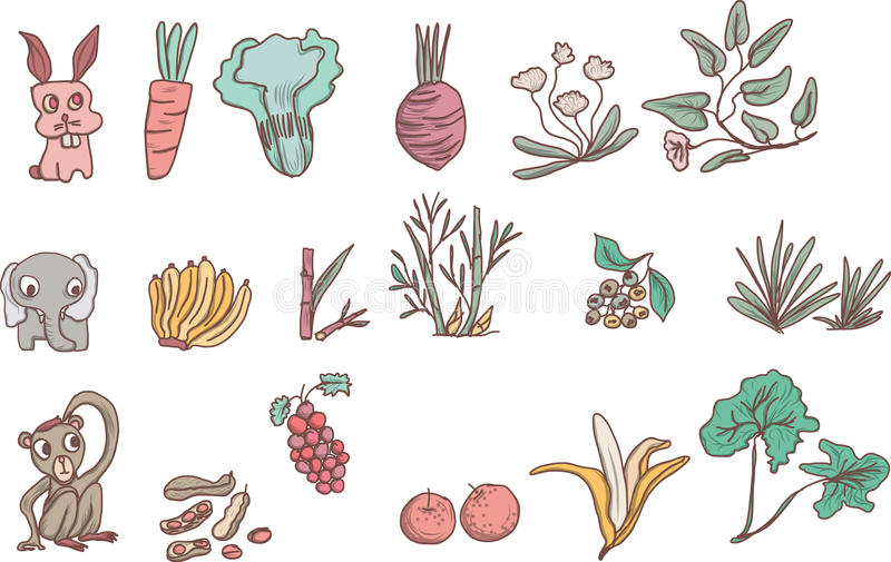 Herbivores and lovely animal outline vector. Vegetables, wildlife ,herbivores and lovely animal outline vector stock illustration