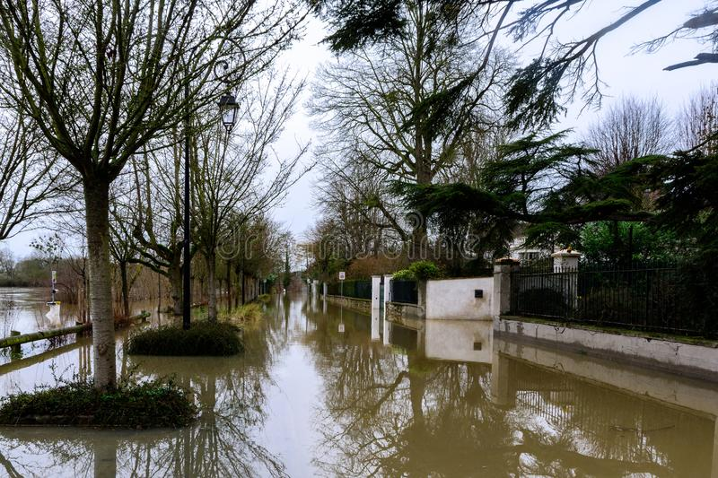 The Seine flooding in the Paris region royalty free stock photos