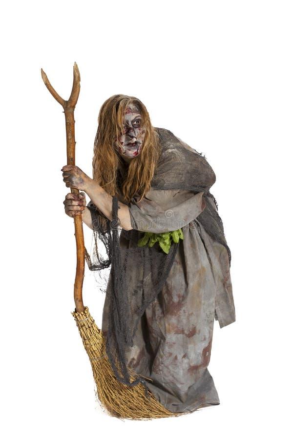 Herborista ou bruxa com vassoura fotografia de stock royalty free
