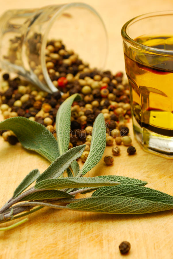 Free Herbs And Oil On Chopping Board Stock Image - 10469571