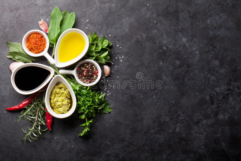 Herbs, condiments and spices stock images