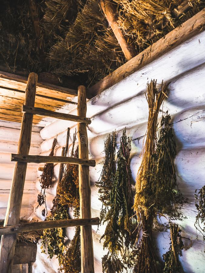 Herbs drying in an old house stock photos