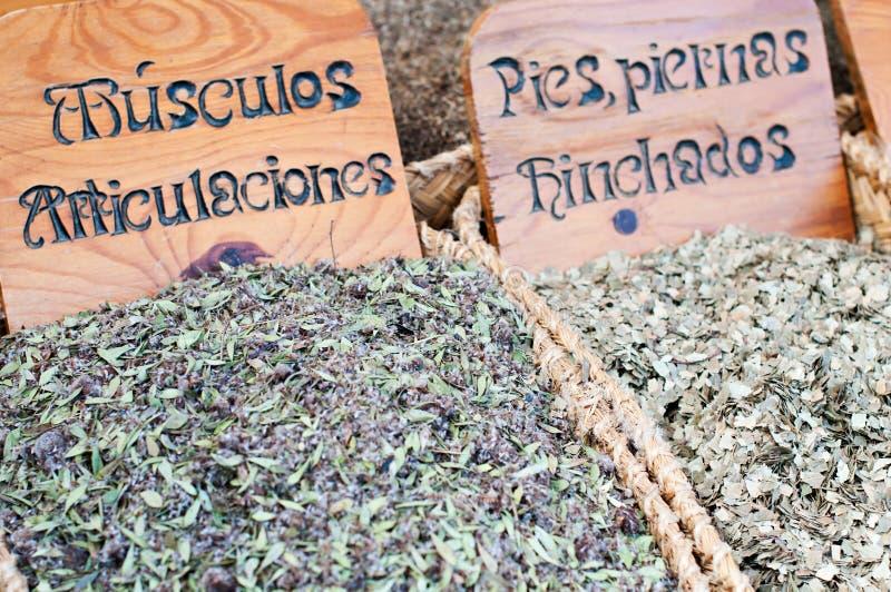 Herbs medicinal. Detail herbs medicinal in a traditional market royalty free stock photos