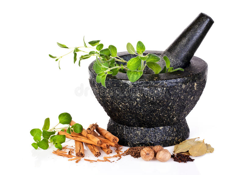 Download Herbs with mortar stock photo. Image of grinding, cloves - 16735502