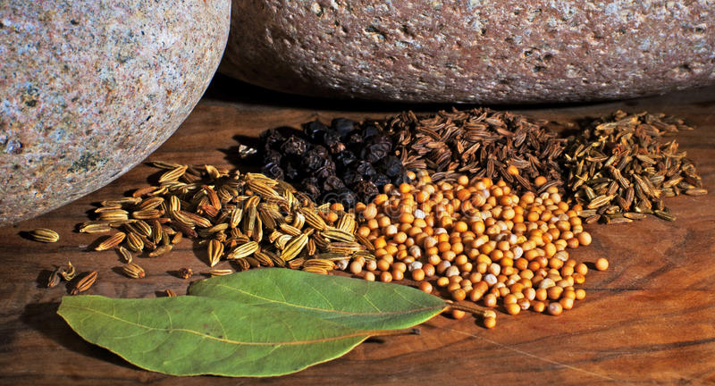 Herbs & Spices. A mix of seeds from various herbs and spices including cumin, caraway, mustard and fennel as well as black peppercorns and dried bay leaves all royalty free stock image