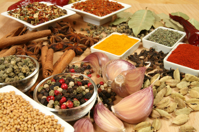 Herbs and spices. Spices, herbs and vegetables. Colorful natural food ingredients stock photo