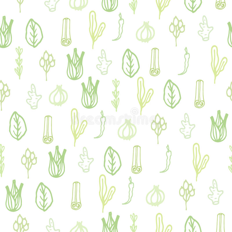 Herbs and spices doodle hand drawn pattern stock illustration