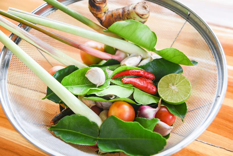 Herbs and spices ingredients spicy soup fresh vegetables for Tom Yum thai with lemon grass garlic galangal chilli Kaffir lime royalty free stock image