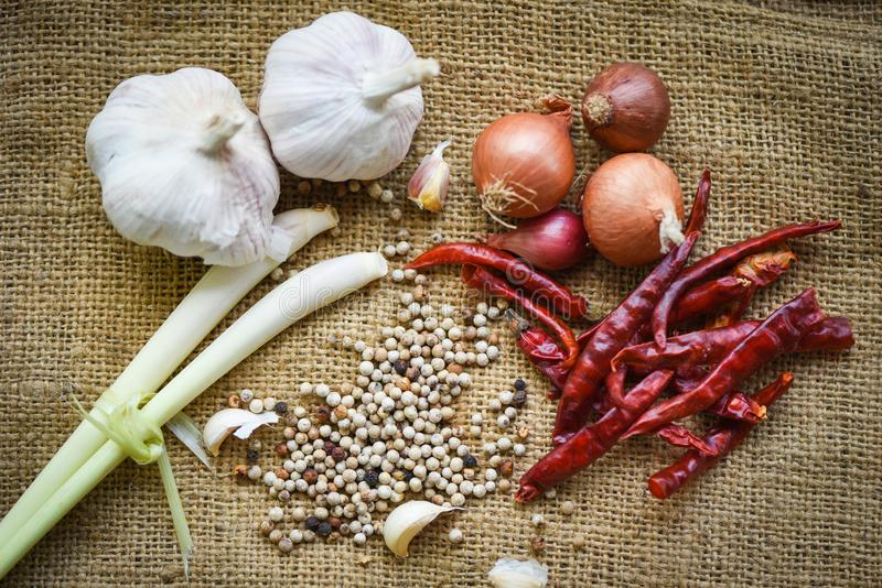Herbs and spices ingredients spicy for Tom Yum thai with lemon grass garlic dried chilli Shallot and pepper seed Thai Food Asian stock images