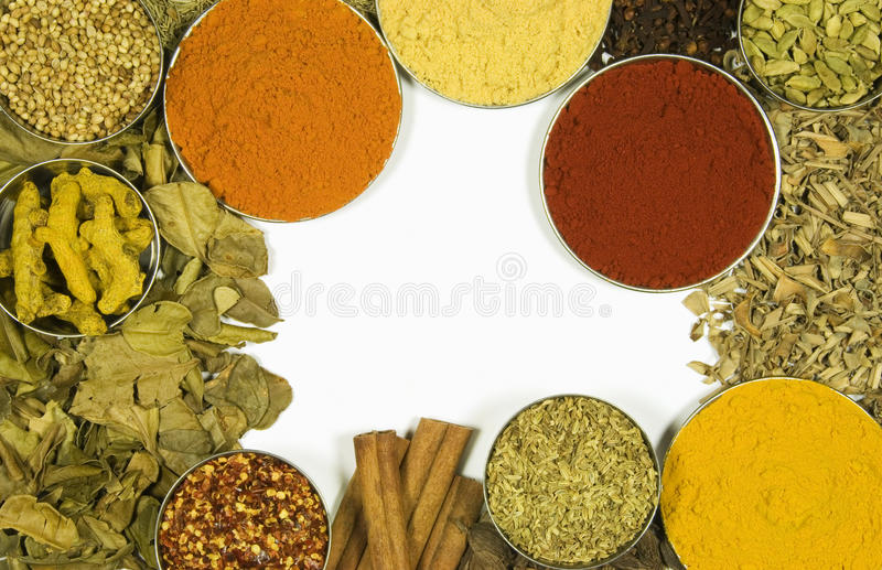 Herbs and spices isolated on white background. Herbs and spices on white background stock image