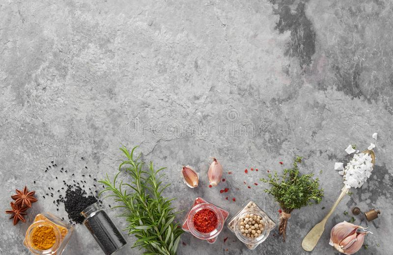 Fresh herbs and spices stock images