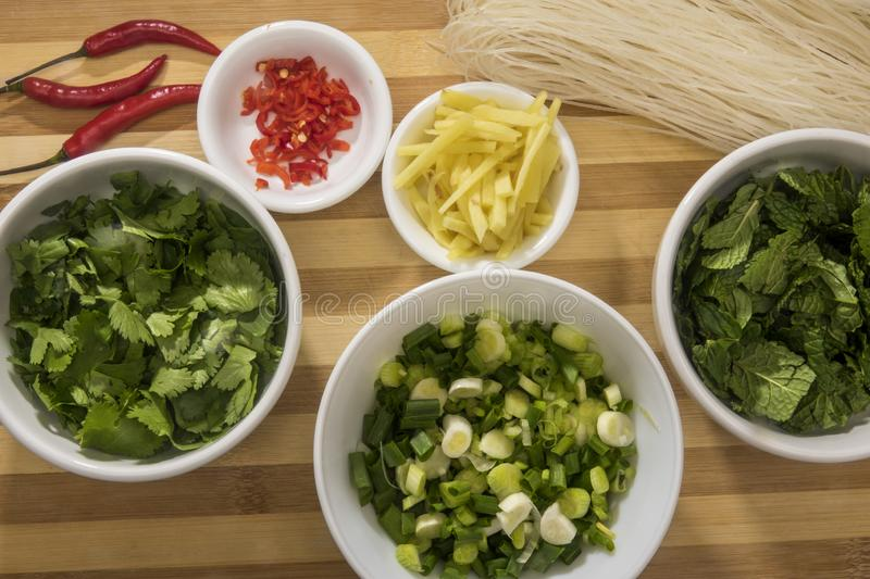 Herbs and spices to prepare Vietnamese noodle soup with vermicelli.  stock photo