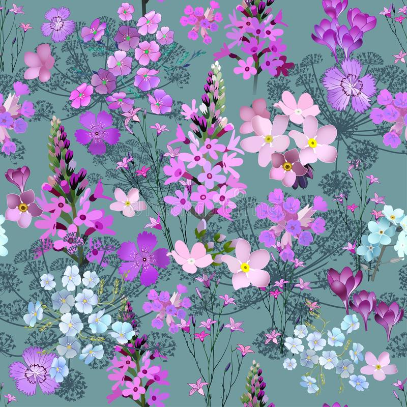 Herbs and Wild Flowers vector seamless pattern of botany texture bdckground illustrations vintage flowes images stock illustration