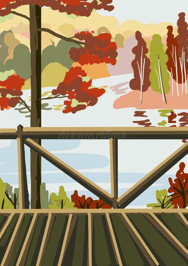 Herbst Bäume, die noch mit etwas goldenen Farben grün bleiben Mostik durch den Fluss Farbe, Schönheit lizenzfreie abbildung