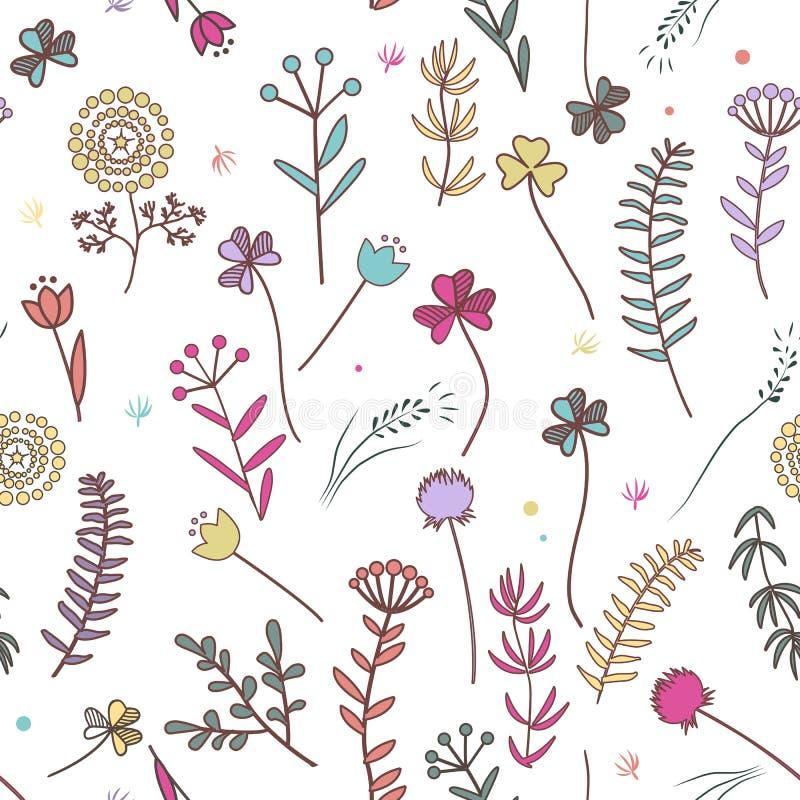 Herbst blüht nahtloses Muster Einfach zu redigieren oder recolor vektor abbildung