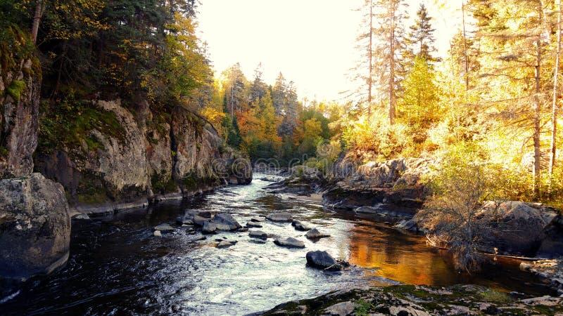 Herbst in Chicoutimi, Saguenay, Quebec, Kanada stockbild