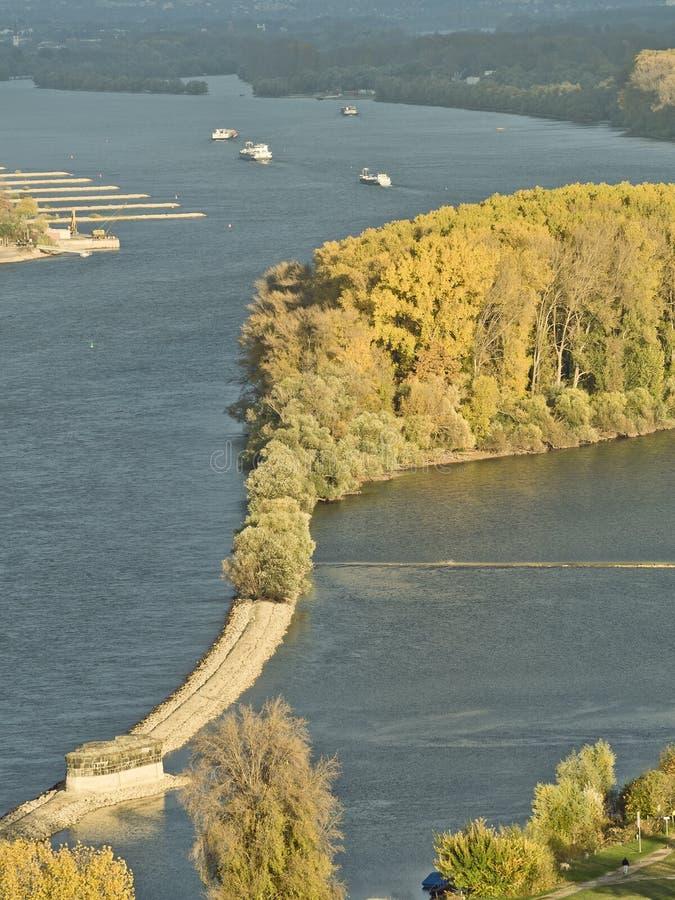 Herbst in dem Fluss Rhein nahe Bingen stockbilder