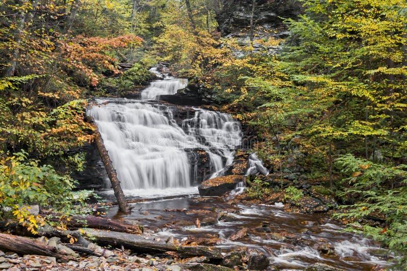 Herbst an den Mohikaner-Fällen - Ricketts-Schlucht, Pennsylvania lizenzfreie stockbilder