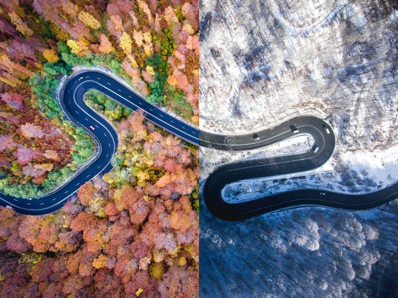 Herbst der kurvenreichen Straße gegen Winter Schattenbild des kauernden Geschäftsmannes stockfoto
