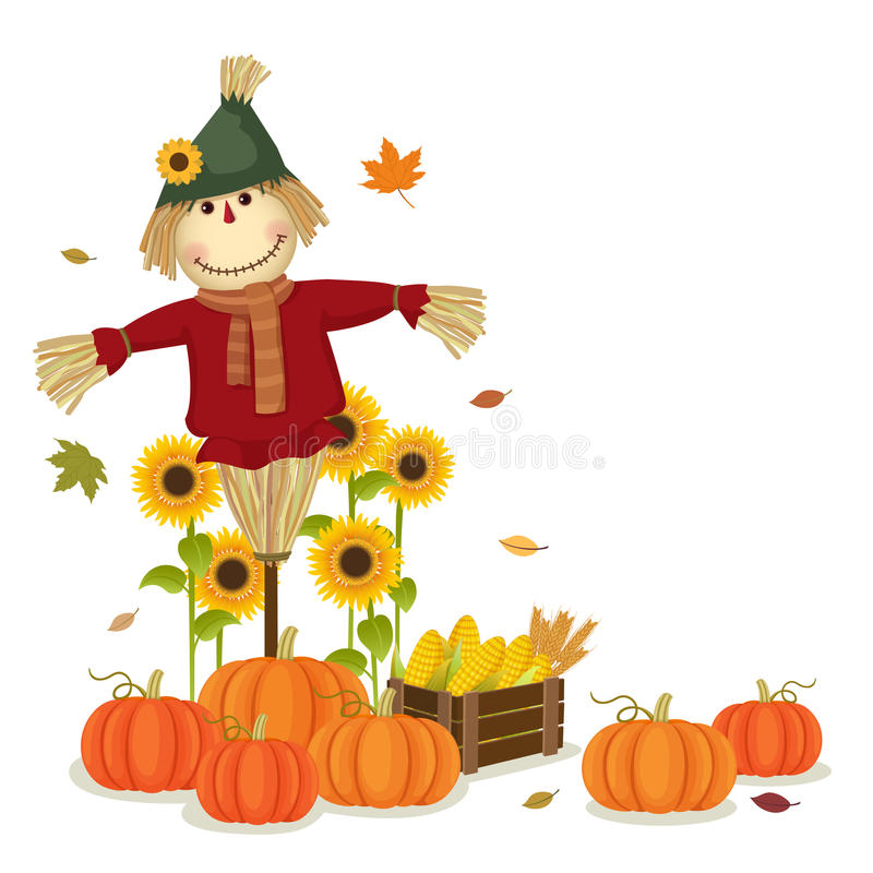 Herbst, der mit netter Vogelscheuche und Kürbisen erntet lizenzfreie abbildung