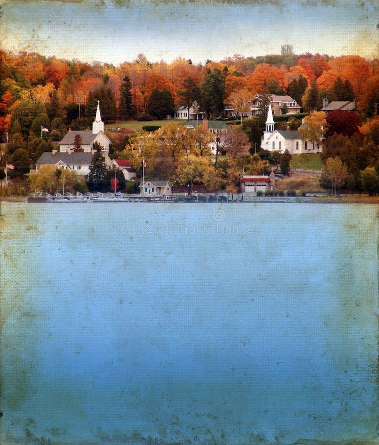 Herbst in der Tür-Grafschaft auf Grunge Hintergrund lizenzfreie stockfotos