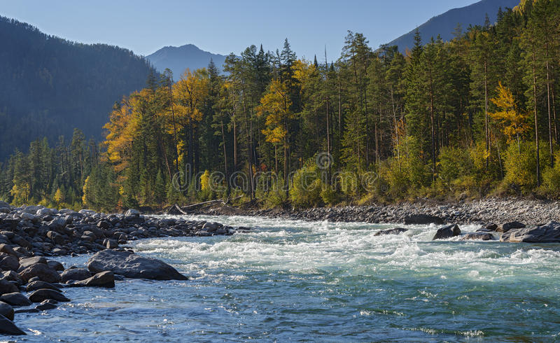 Herbst durch den Fluss Kitoy stockfotografie