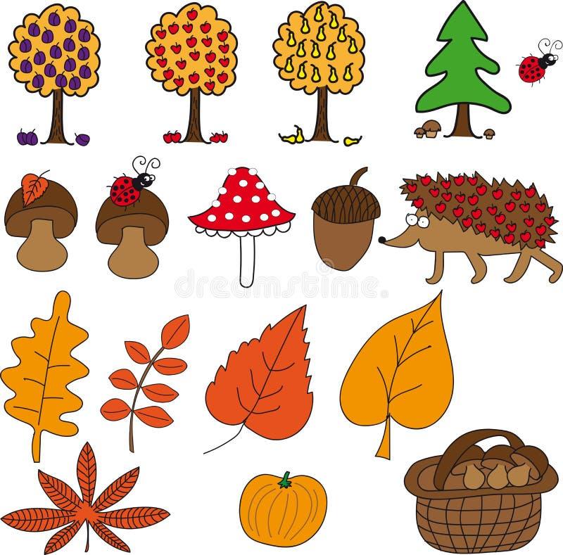 Herbst eingestellt mit Pilzen, Frucht, Igelem, Blättern, Kürbis und Eichel stock abbildung