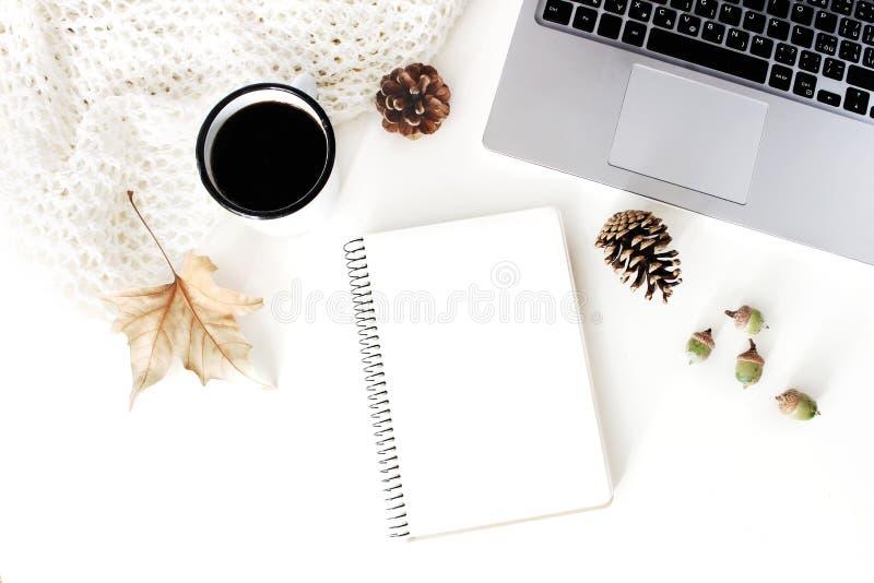 Herbst, Fallarbeitsplatzzusammensetzung Notizbuchmodellszene Tasse Kaffee, Wolldecke, Herbstlaub, Kiefernkegel lizenzfreie stockfotografie