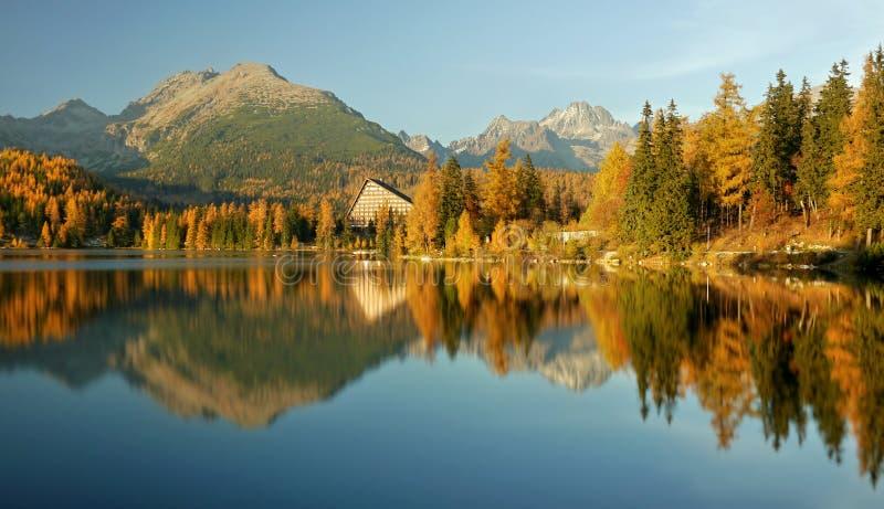 Herbst farbiger Gebirgssee - hohes Tatras stockbilder