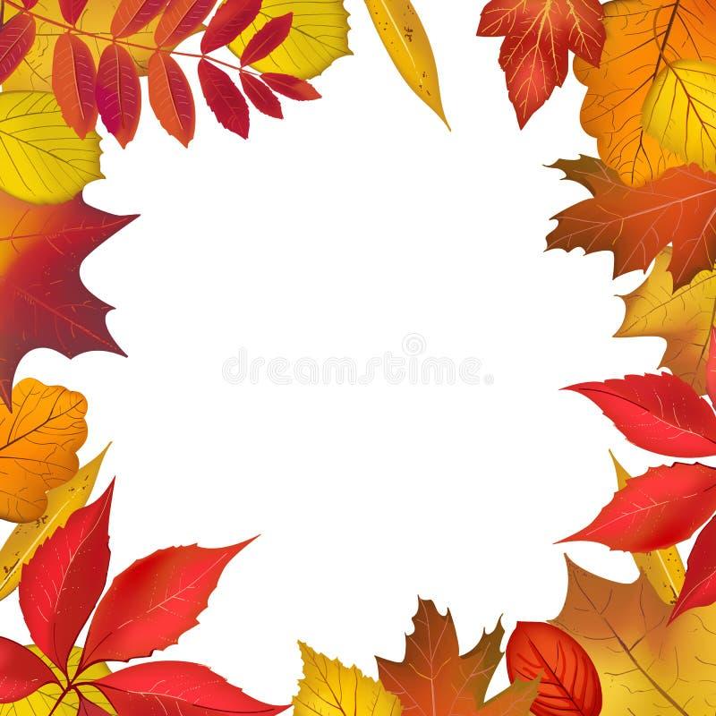 Herbst farbiger Laubrahmen lizenzfreie abbildung