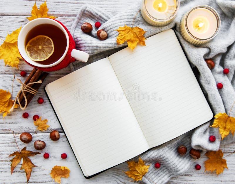 Herbst flatlay auf hölzernem Hintergrund lizenzfreie stockbilder