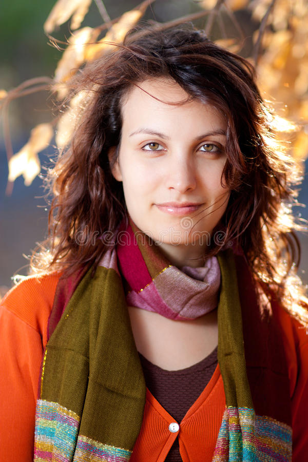 Herbst-Frau stockbilder