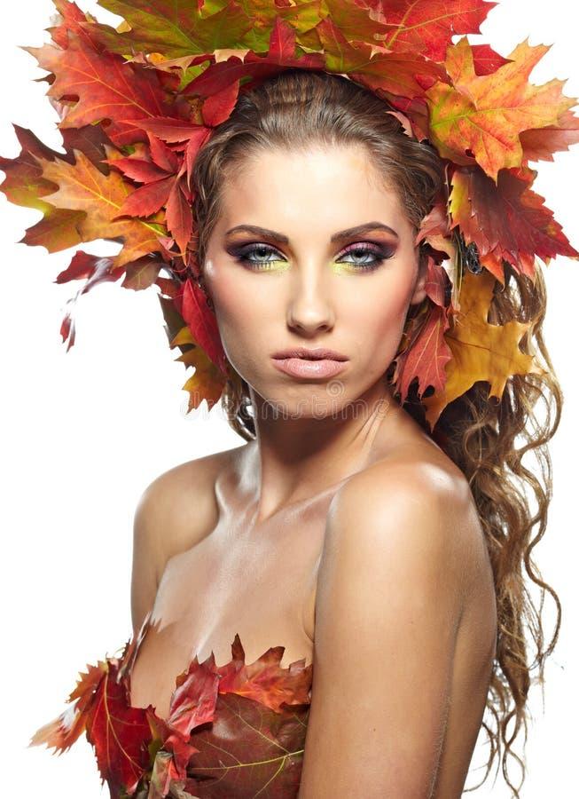 Herbst-Frau. stockbild