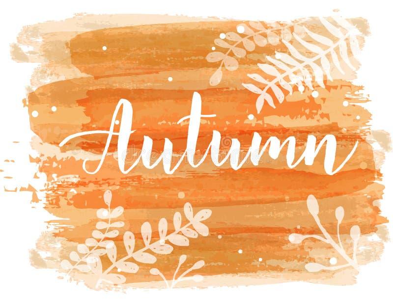 Herbst gebürstete Fahne mit Blumen lizenzfreie abbildung