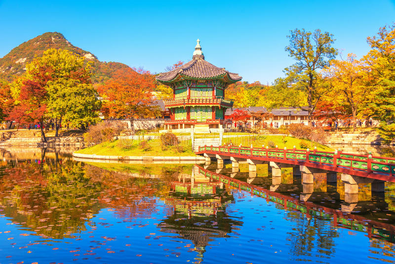 Herbst an Gyeongbokgungs-Palast in Seoul, Korea stockbild