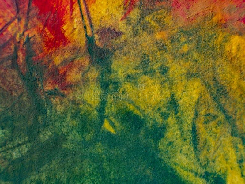 Herbst Hand gezeichnete Malerei Hintergrund der abstrakten Kunst Anstrich auf Segeltuch Farbbeschaffenheit Fragment der Grafik Pi stockfoto