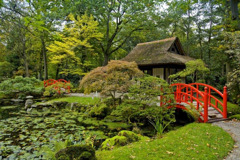 Herbst im japanischen Garten lizenzfreie stockbilder