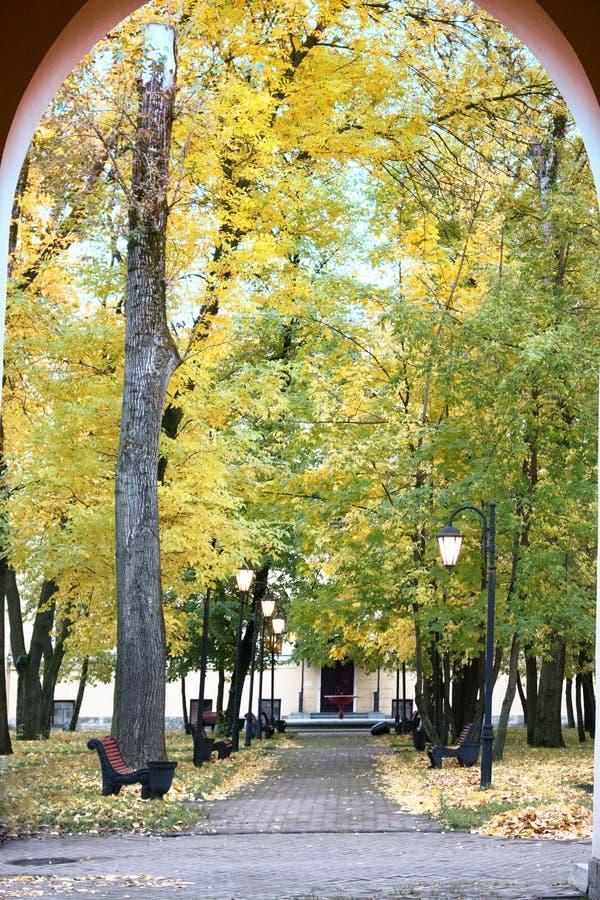 Herbst im Park und auf den Straßen lizenzfreie stockbilder