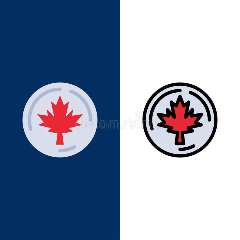 Herbst, Kanada, Blatt, Ahorn-Ikonen Ebene und Linie gefüllte Ikone stellten Vektor-blauen Hintergrund ein stock abbildung