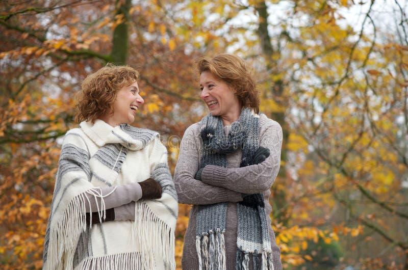 Herbst-lächelnde Frauen lizenzfreies stockbild