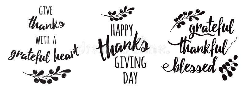 Herbst-Niederlassungsmit blumenschwarzes des Textes der gesetzten Phrasen der Danksagung dankbares dankbares gesegnetes schwarzes lizenzfreie abbildung