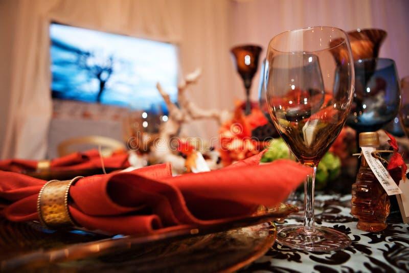 Herbst-Party-Tischplatte lizenzfreie stockfotografie
