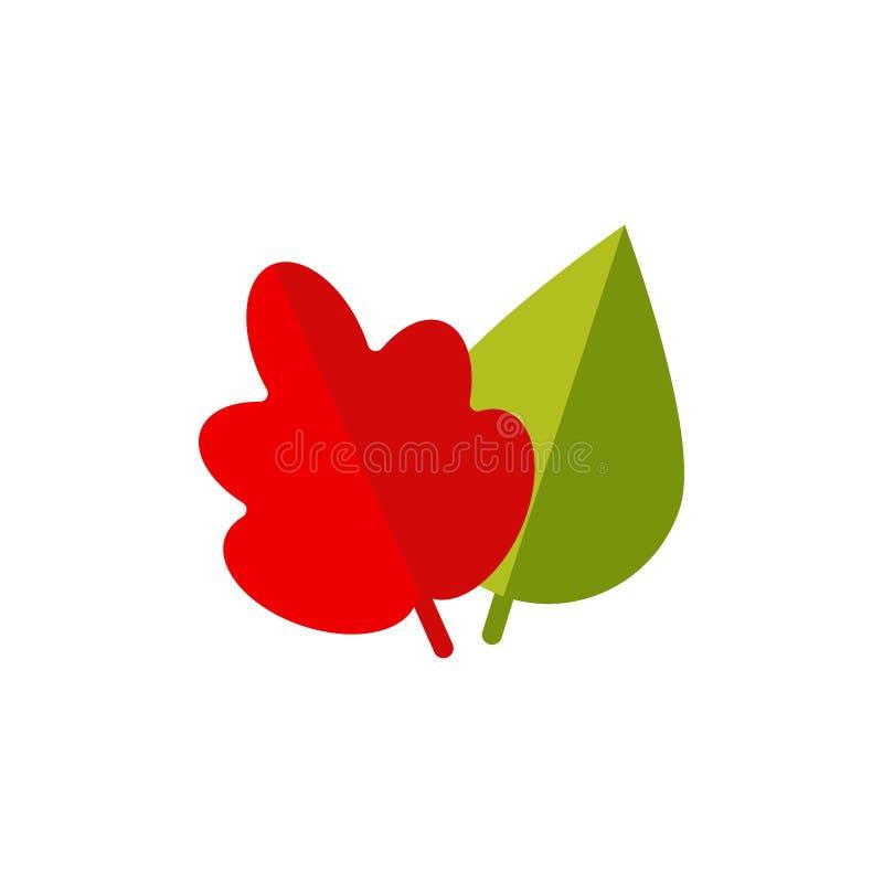 Herbst treibt flache lokalisierte Ikone Blätter vektor abbildung