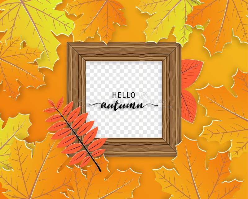 Herbst treibt Hintergrund mit Rahmenbrett in der geschnittenen Papierart Blätter Entwurf für Plakat, Flieger, Broschüre, Fahne, A vektor abbildung