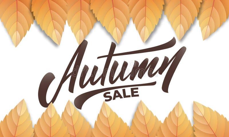 Herbst VERKAUF Herbsthintergrundplan mit Fall leves und Handbeschriftung Fallverkauf, Förderung, Fahne vektor abbildung