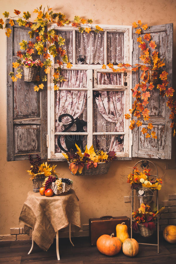 Herbst verzierte Patio stockfoto