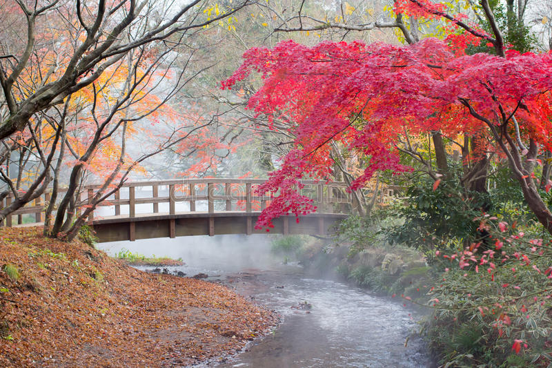 Herbst in Yufuin, Japan stockfotografie