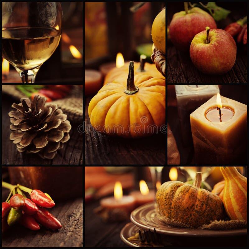 Herbstabendessencollage stockfoto