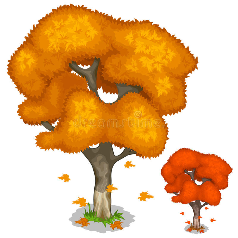 Herbstahornbaum mit fallenden Blättern lizenzfreie abbildung